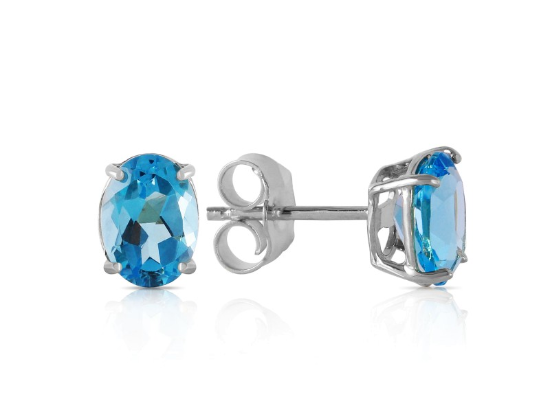 1.8 CTW 14K Solid White Gold Once Again Blue Topaz Earrings