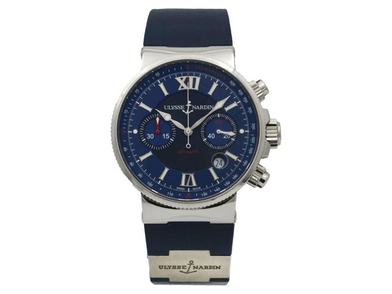Ulysse Nardin Maxi Marine Chronograph Blue Automatic Men's Watch 353-66-3/323