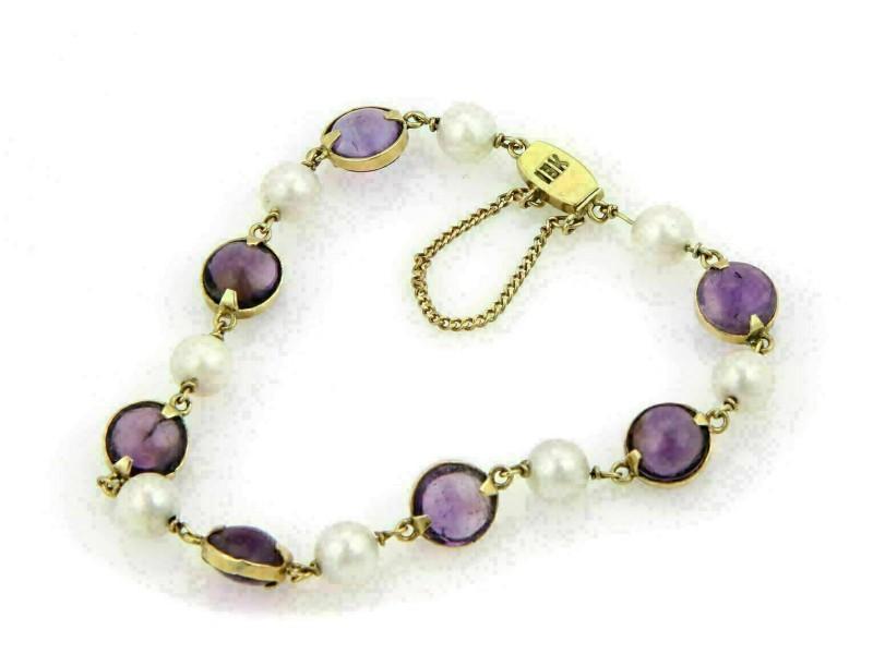 Amethyst & Pearls 18k Yellow Gold Bead Bracelet