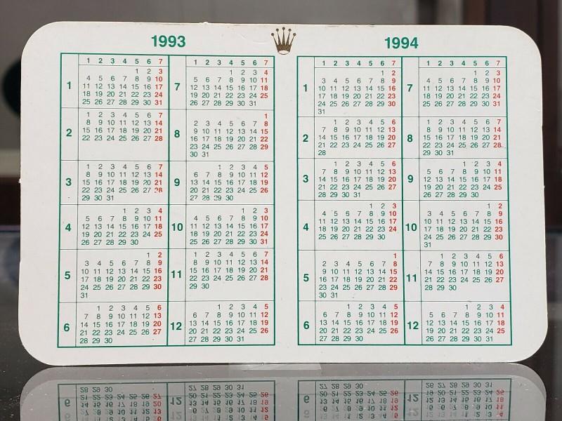 ROLEX 1993/1994 CALENDAR CARD
