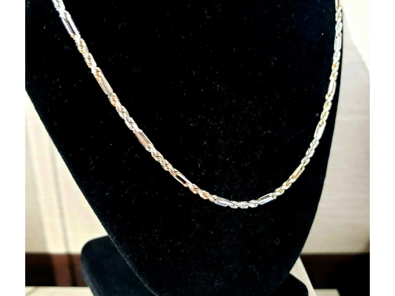 Fine Estate 14k White Rose Gold Rope Chain Necklace 22""