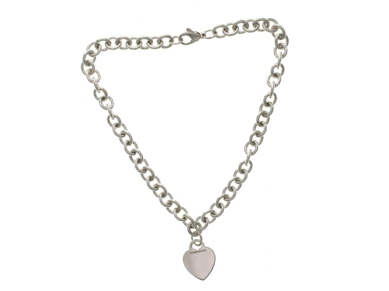 "Auth Tiffany & Co 925 Sterling Silver Heart Tag Link Necklace Size 16"" »U224"