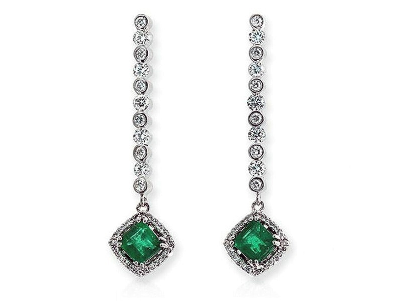 "1.56 CT Colombian Emerald & 1.15 CT Diamonds 18K White Gold 1.5"" Drop Earrings"