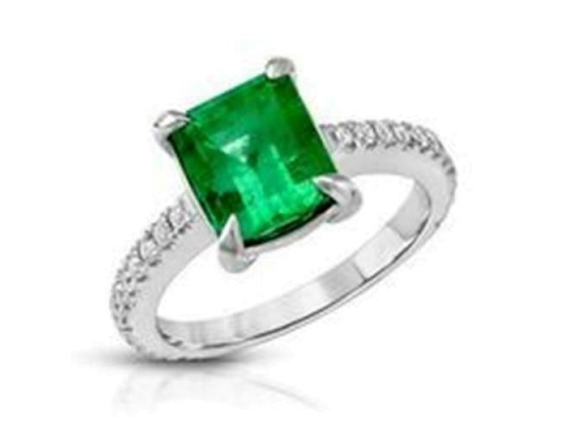 2.22 CT Colombian Emerald & 0.32 CT Diamonds in 14K White Gold Engagement Ring