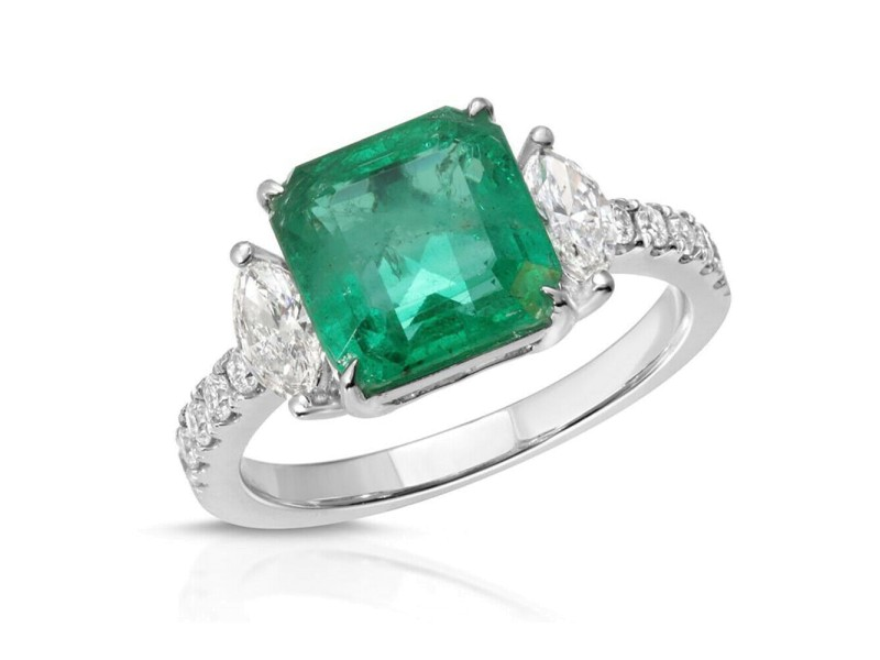 2.79 CT Colombian Emerald & 0.54 CT Diamonds in 14K White Gold Engagement Ring