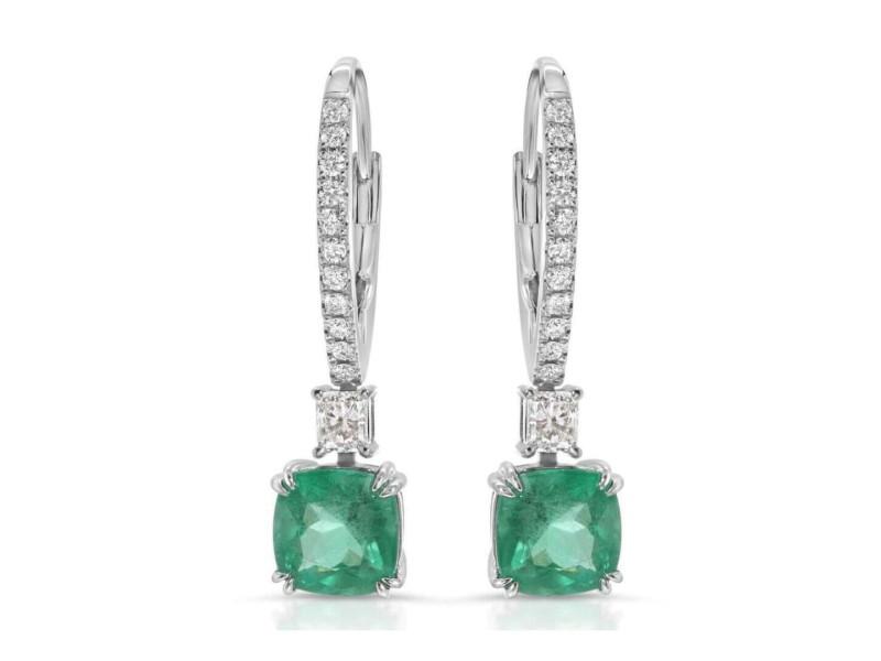 2.24 CT Colombian Emerald & 0.45 CT Diamonds 14K White Gold 27 mm Drop Earrings