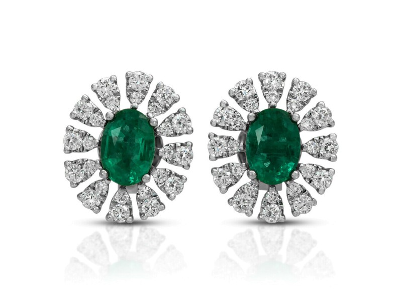 1.52 CT Colombian Emerald & 0.75 CT Diamonds 14K White Gold 13 mm Stud Earrings