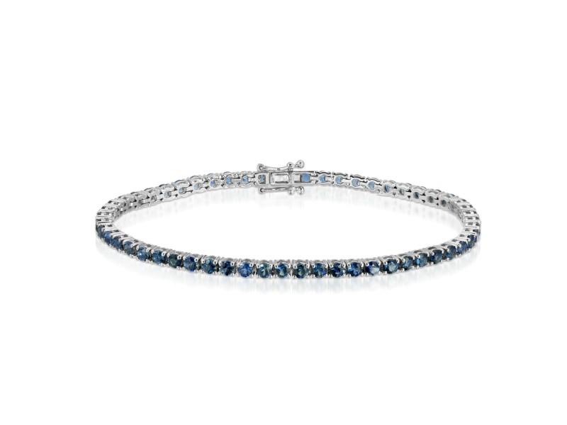 "5.99 CT Natural Blue Sapphire 18K White Gold 3 mm Bracelet Size 7"""