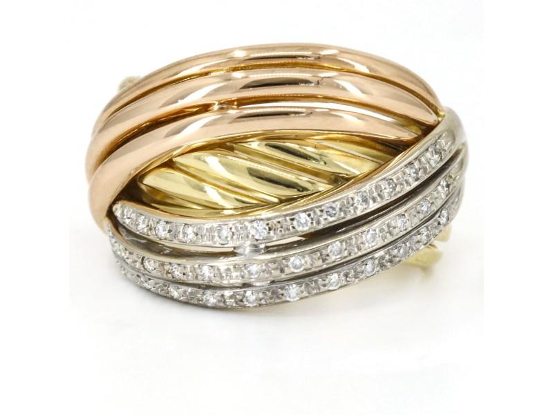 Pave Diamond Interlocking Bands Ring in 18k Rose Yellow White Gold