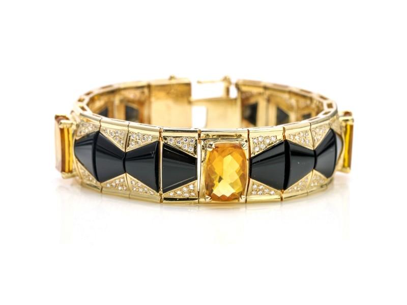 Citrine Onyx Diamond Link Bracelet in 14k Yellow Gold