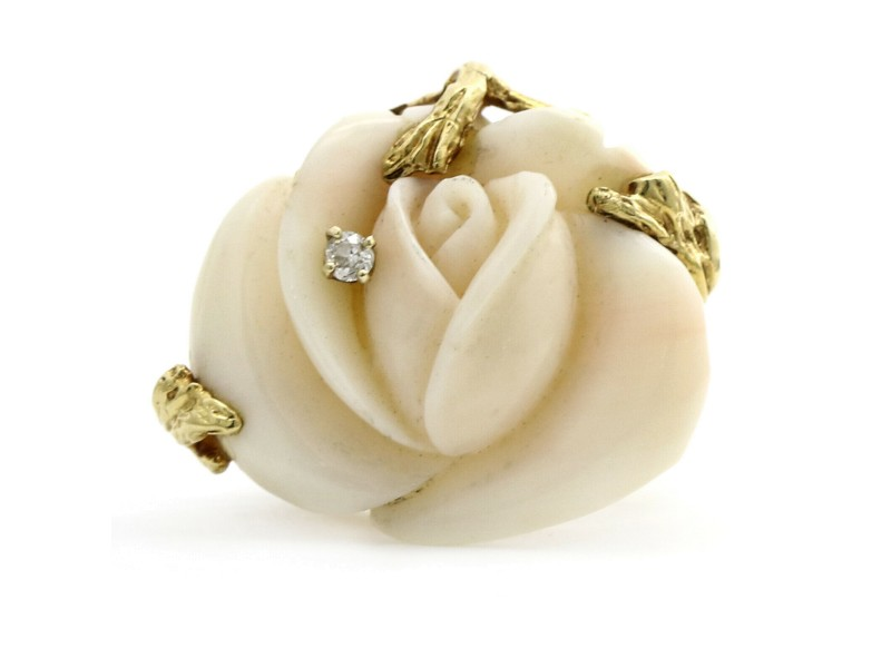 Carved Angel Skin Coral Rose Statement Ring in 14k Yellow Gold