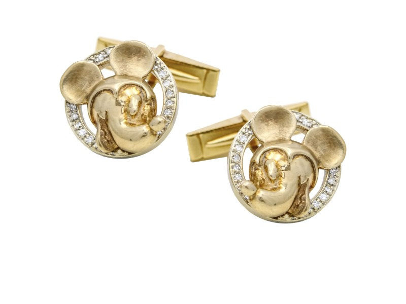 Mickey Mouse Diamond Cufflinks in 14k White and Yellow Gold