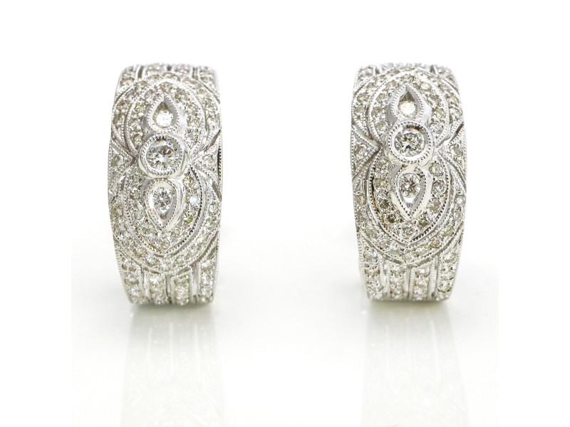 Diamond Half Hoop Oval Earrings in 18k White Gold ( 1.50 ct tw )