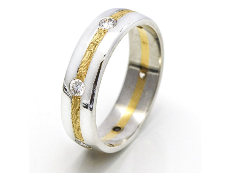Men's Diamond Wedding Band in Platinum and 18k Yellow Gold (.60 ct tw)