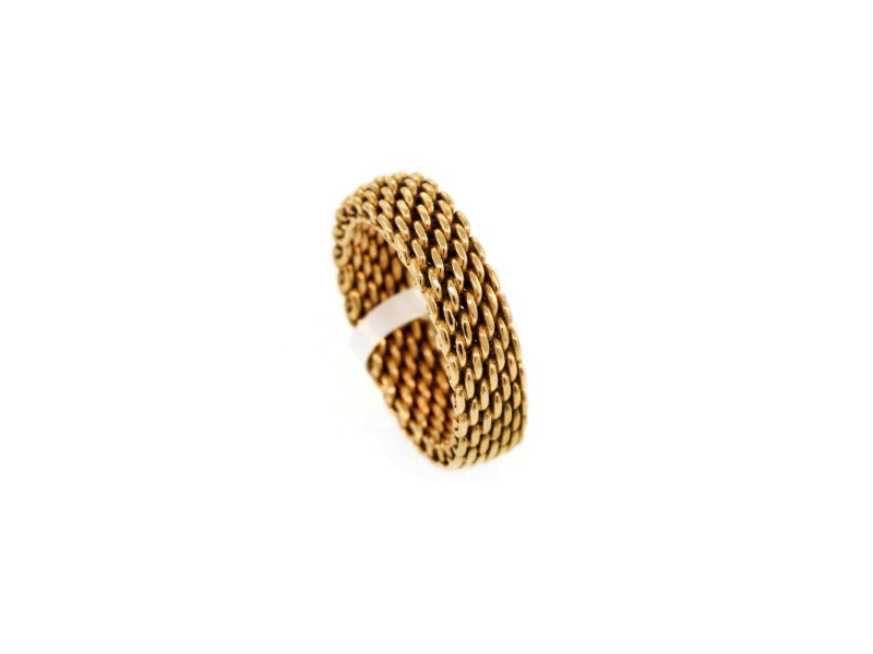 Tiffany & Co. Narrow Somerset Mesh Band Ring in 18k Rose Gold