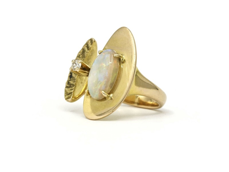 Bent Gabrielsen Pedersen Modernist Opal Diamond Ring in 14k Yellow Gold