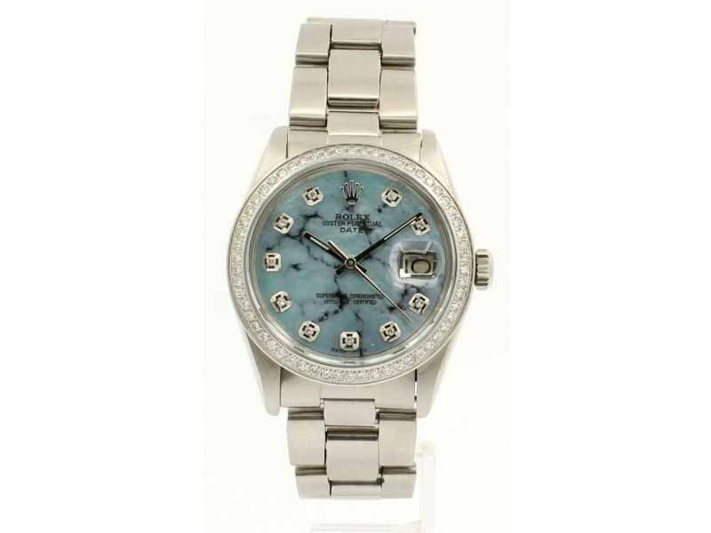 Mens ROLEX Oyster Perpetual Date 34mm Blue MOP MARBLE  Dial Diamond Steel Watch