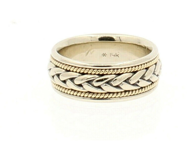 14k White Yellow Gold Knotted Wide Band Ladies Ring 9.9 Grams Size 6.25
