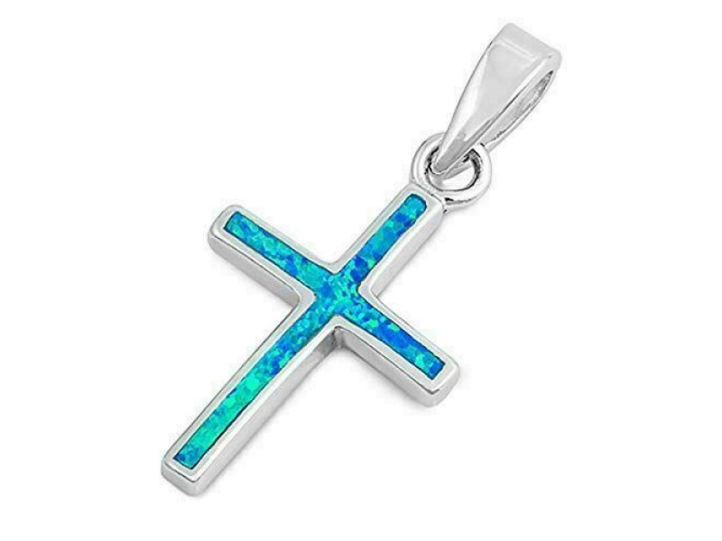 Unisex 925 Sterling Silver Lab Created Blue Opal Cross Charm Pendant