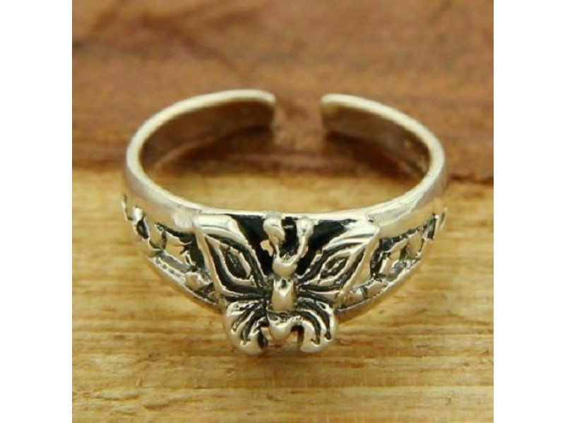 Solid Sterling Adjustable Butterfly Toe Ring