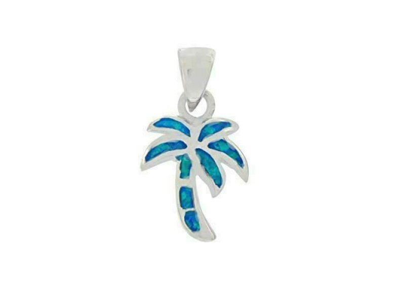 Girls 925 Sterling Silver Lab Created Blue Opal Palm Tree Charm Pendant