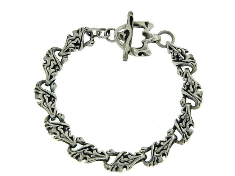 "Men's 925 Sterling Silver Bike Designer Bali Bracelet Size 7 1/2"" » B14"