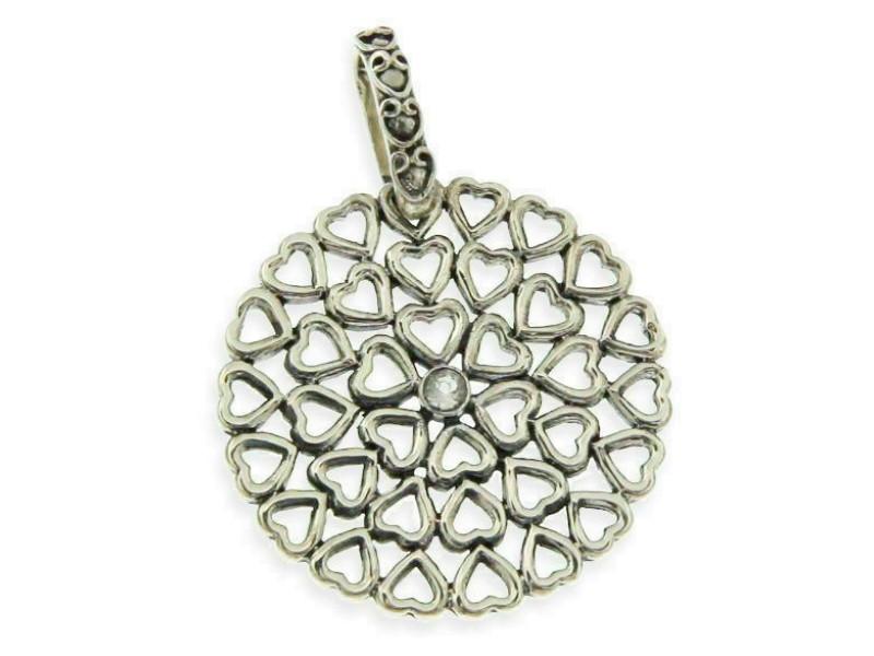 Women's heavy 925 Sterling Silver Round Hearts CZ Pendant » P316