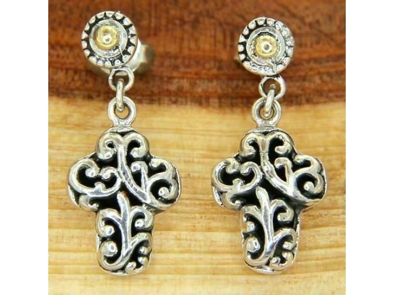 925 Sterling Silver 14 K Gold Scroll Swirl Gothic Cross Dangle Earring»E115