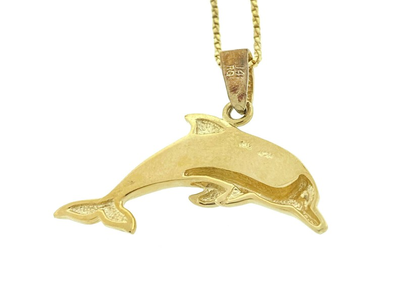 14k Yellow Gold Dolphin Pendant Necklace
