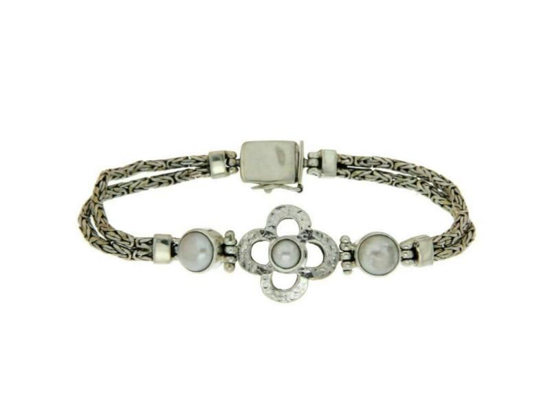 "¦925 Sterling Silver Four Leaf Mother of Pearl Bali Bracelet Size 7"" » B213"