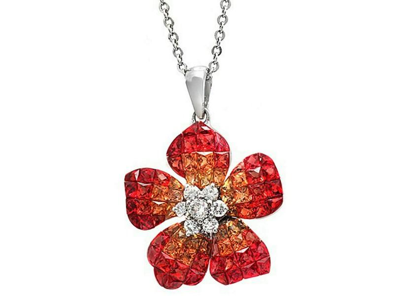 "14K White Gold 0.32CT Diamonds 7.29CT Orange Sapphire Flower Necklace 18"" »N2839"