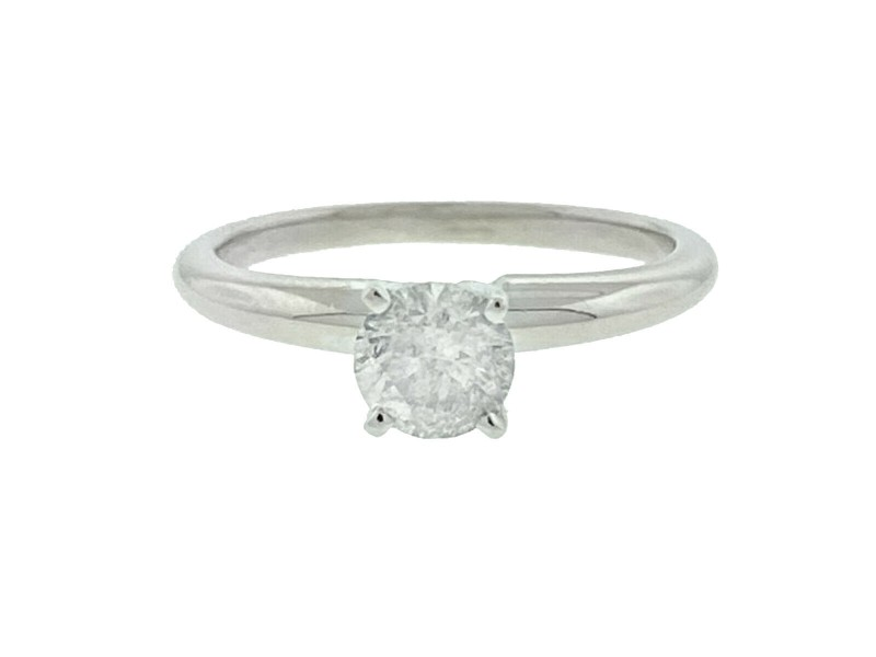 14k White Gold Approx .40 Ctw Diamond Solitaire Engagement Ring