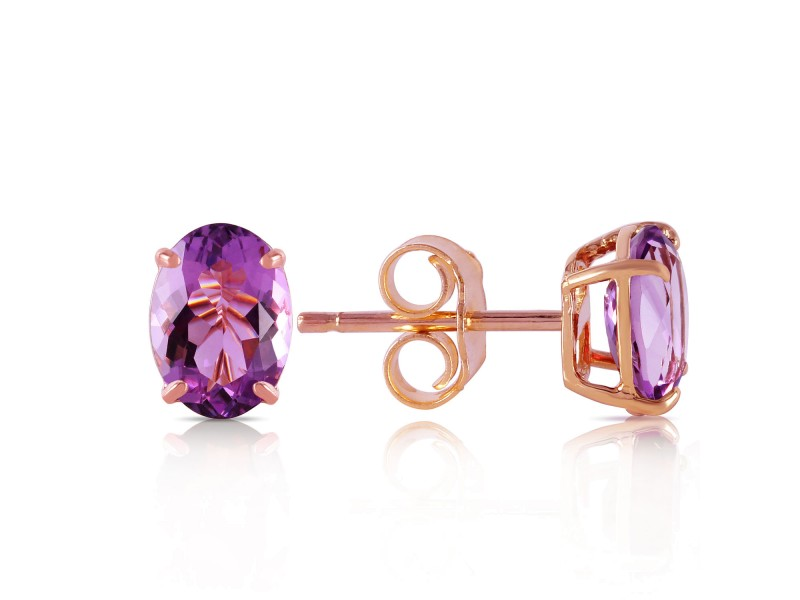 1.8 CTW 14K Solid Rose Gold Panache Amethyst Stud Earrings