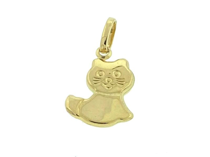 18k Yellow Gold Small Cat Pendant