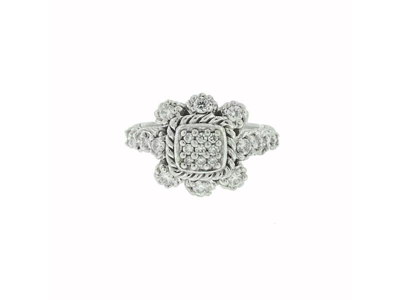 Judith Ripka Sterling Silver Flower Pave Cluster Cz Ring