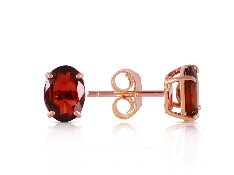1.8 CTW 14K Solid Rose Gold Panache Garnet Stud Earrings