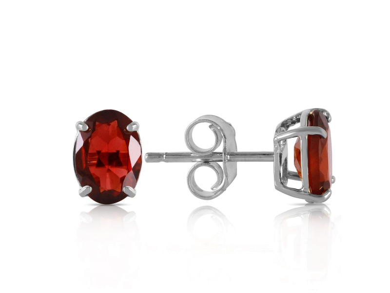 1.8 CTW 14K Solid White Gold Make Believe Garnet Earrings