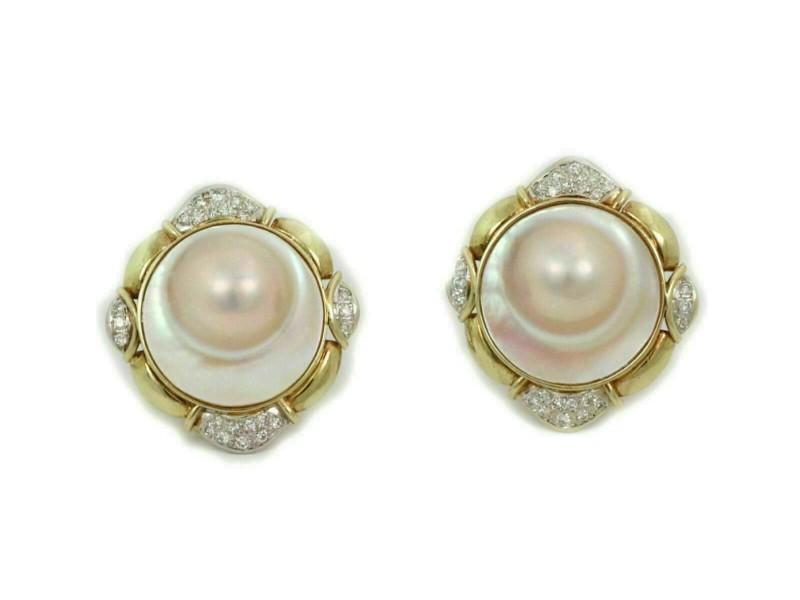 Estate Diamond Blister Pearl 14k Yellow Gold Post Clip Earrings