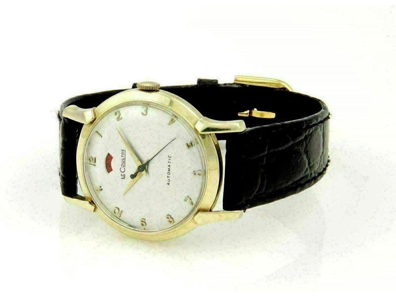 Vintage Le Coultre Automatic Men's 14k Gold & Leather Band Wrist Watch