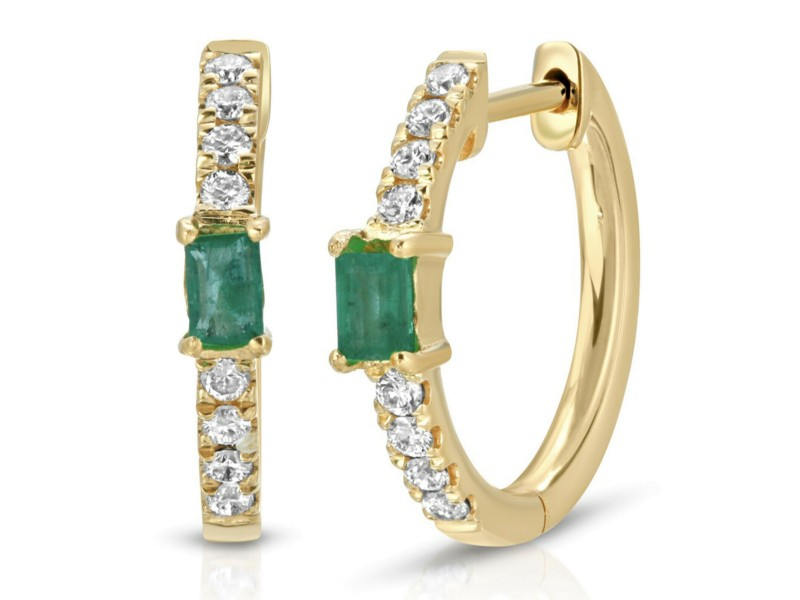 0.47 CT Colombian Emerald & 0.17 CT Diamonds in 14K Yellow Gold Hope Earrings