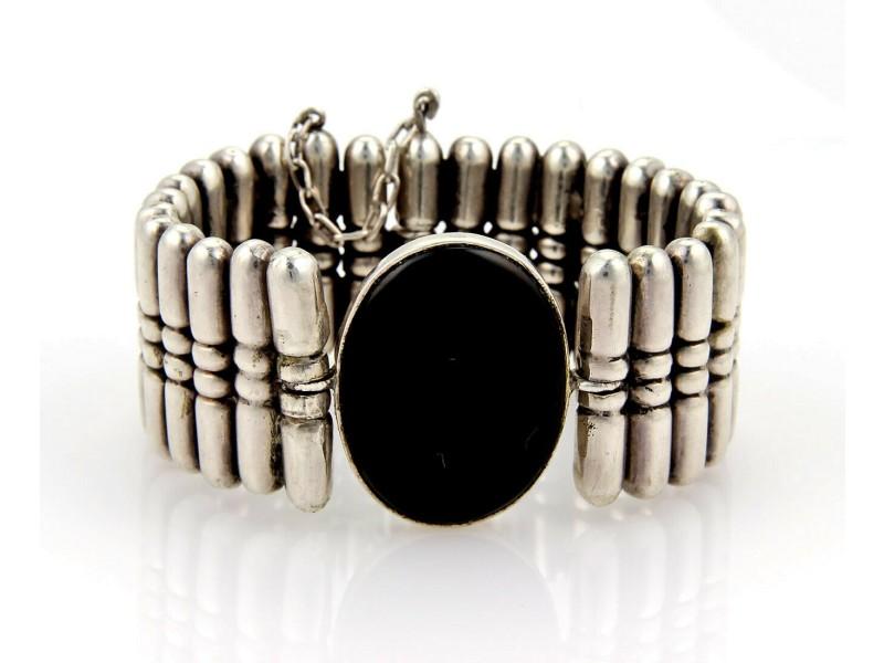 Hector Aguilar Oval Onyx Bullet Large 940 Sterling Silver Bracelet 1940's