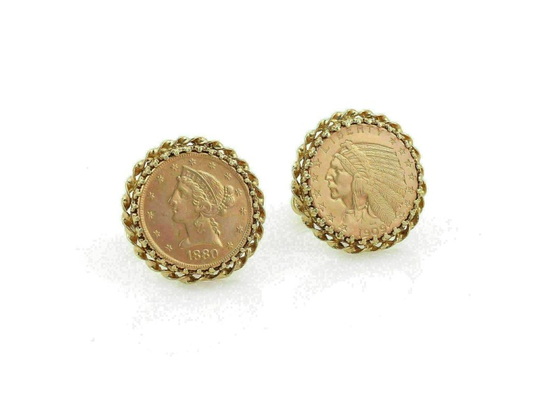 Vintage 22k Rose Gold Liberty & Indian head Coin 14k Gold Stud Cufflinks