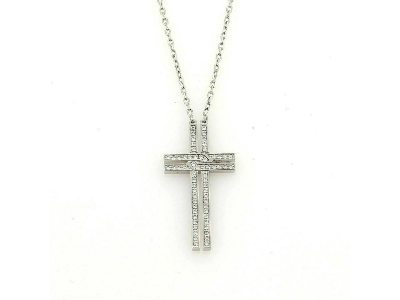 Cartier Diamond 18k White Gold Cross Pendant w/Paper