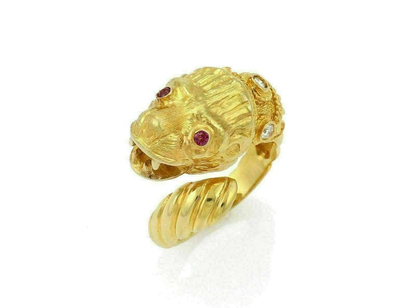 Llias Lalaounis Diamond Ruby 18k Yellow Gold Lion Head Bypass Band Ring