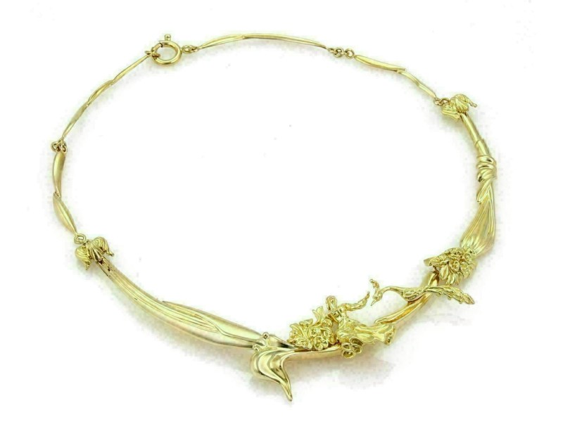 Carved Lady & Peacock Section 14k Gold Link Collar Necklace