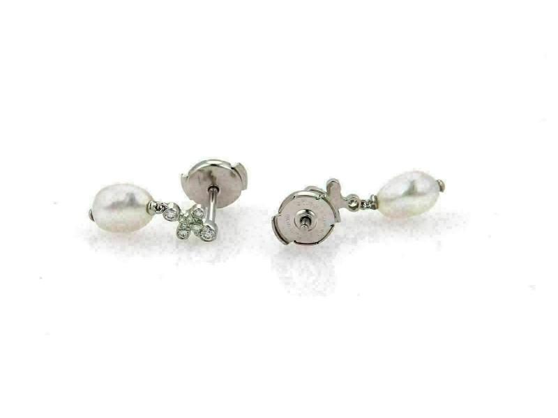 Tiffany & Co. Fleur Diamond Keshi Pearls Platinum Dangle Earrings