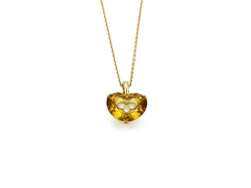 Chopard So Happy Diamond 18k Yellow Gold Yellow Crystal Heart Pendant