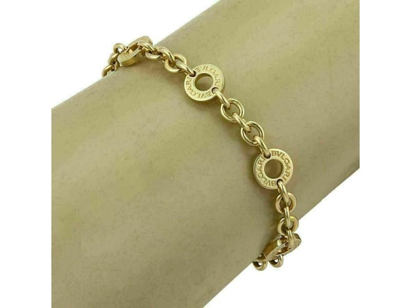 Bvlgari 18k Yellow Gold 6 Engraved Circle Station Chain Bracelet