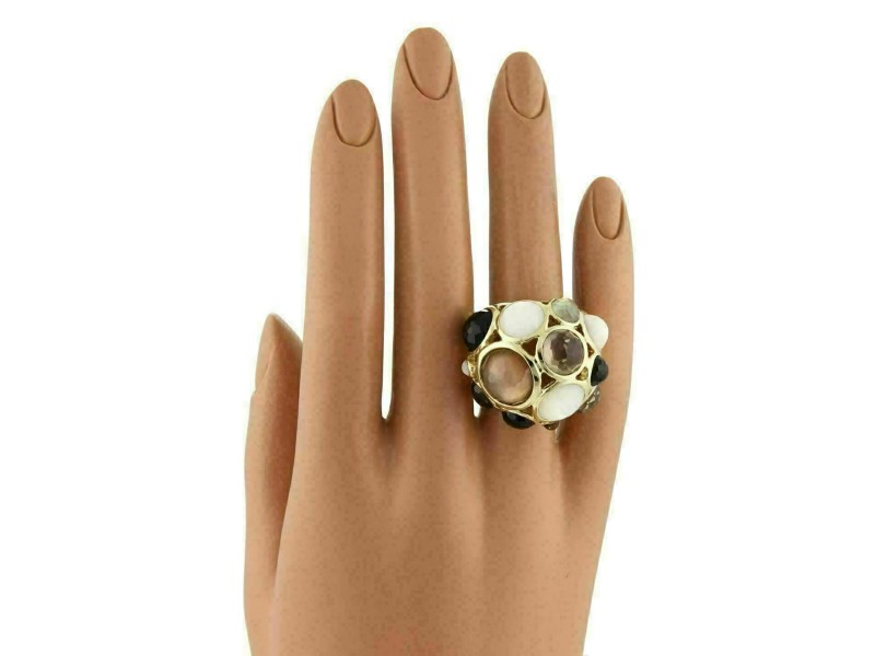 Ippolita Gellato Mother of Pearl Quartz & Onyx 18k Yellow Gold Dome Ring