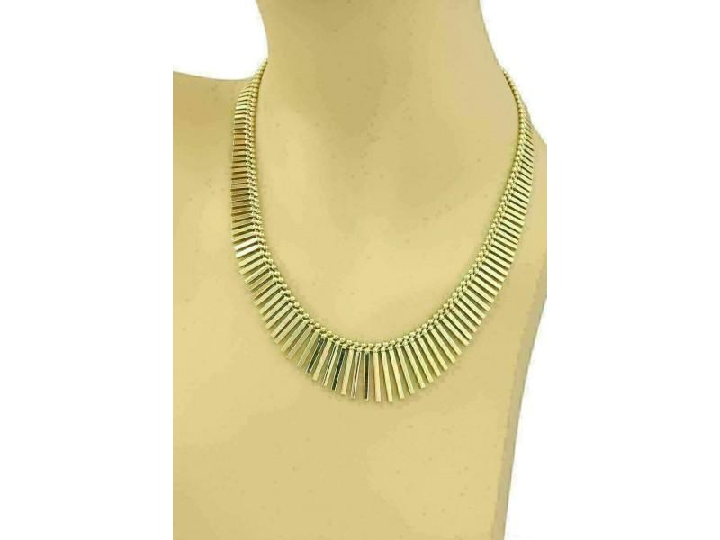 Estate Multi Bars & Bead Drape 14k Yellow Gold Necklace
